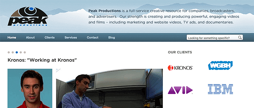 Web Design, CMS Development Web Development Project Screenshot for Peak Productions