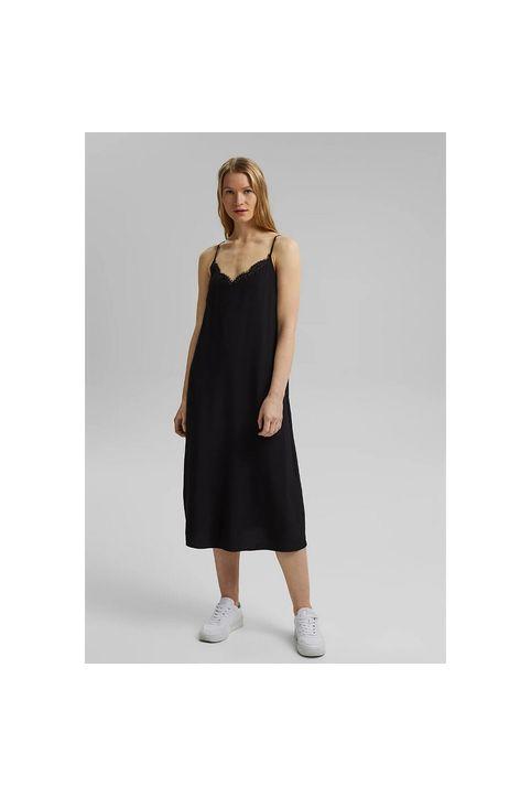 Κοντό εβαζέ φόρεμα με λεπτομέρειες από δαντέλα