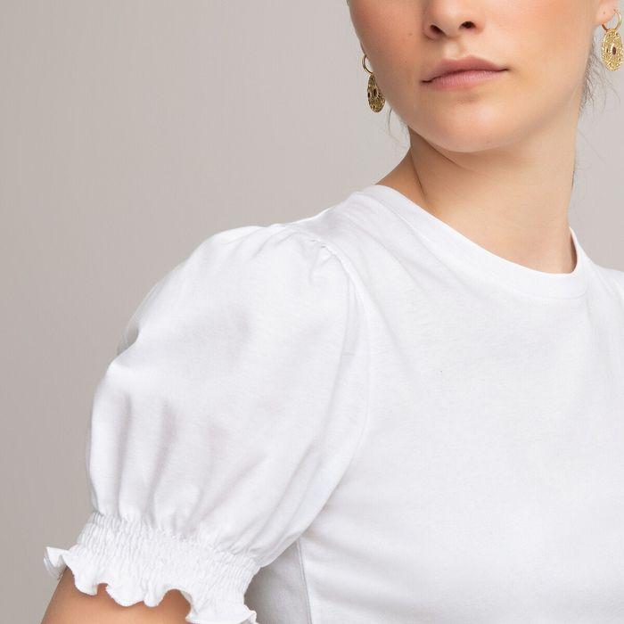 Μπλούζα με στρογγυλή λαιμόκοψη και φουσκωτά μανίκια