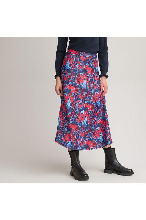 Εβαζέ μίντι σατέν φούστα με εμπριμέ μοτίβο
