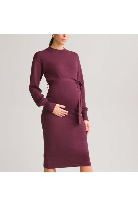 Μακρυμάνικο φόρεμα εγκυμοσύνης με πλεκτή ύφανση