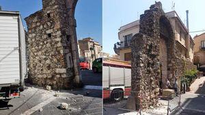 Taormina, un camioncino sbaglia manovra e danneggia la storica Porta Messina
