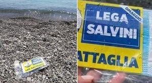 Pioggia di buste di plastica lanciate in mare: la propaganda del candidato leghista in Calabria fa infuriare gli ambientalisti