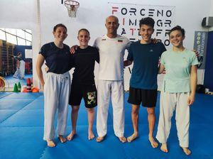 Allenamento con una campionessa olimpica per tre giovani del Karate Farnesiana - Libertà Piacenza