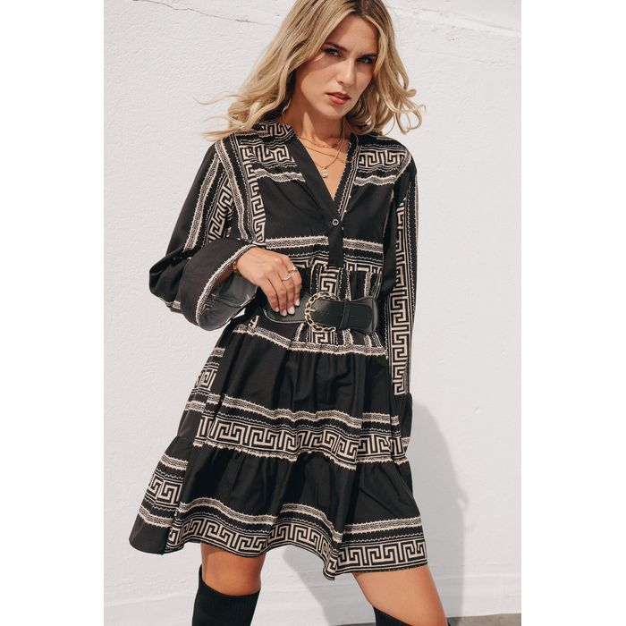Μαύρο Boho Φόρεμα σε Γεωμετρικό Μοτίβο και Ζώνη