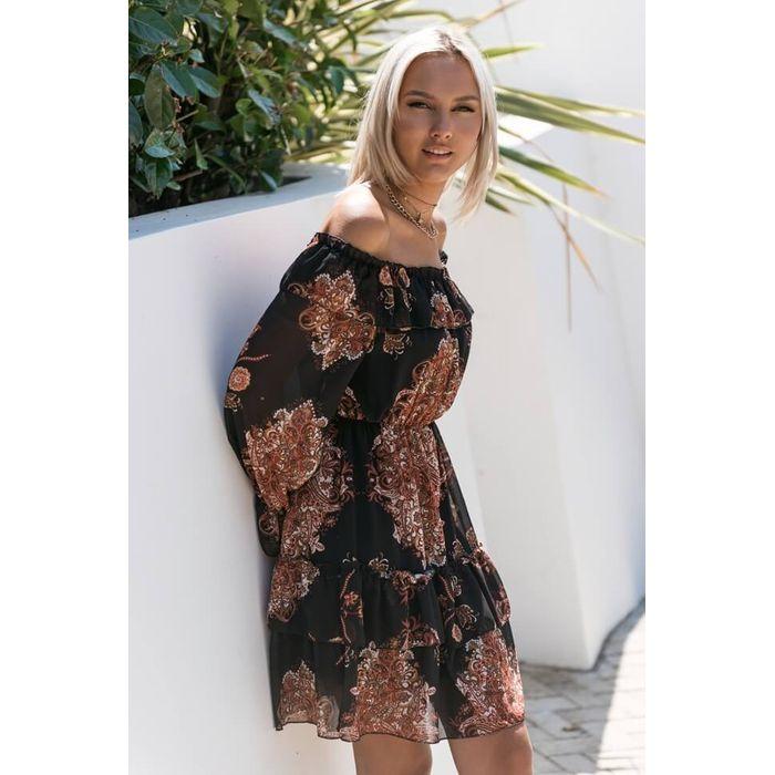 Φόρεμα Boho Off Shoulder - Μαύρο