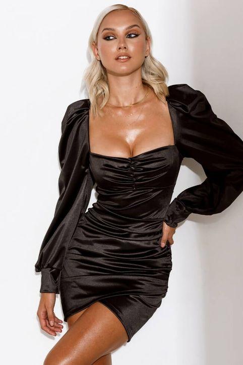 Φόρεμα Σατέν με Ενίσχυση στο Μπούστο και Πιέτες - Μαύρο
