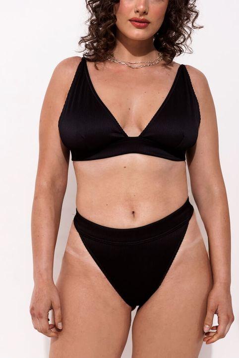 GIGI-Μαγιό Slip Ριπ Brazil Plus Size - Μαύρο