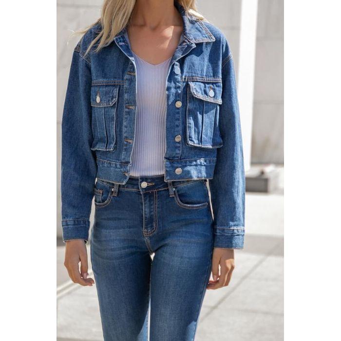 Jean Jacket με Τσεπάκια - Μπλε Σκούρο