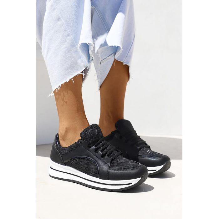 Sneakers με Glitter - Μαύρο