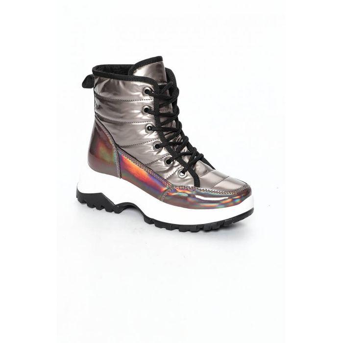 Sneakers Μποτάκια με Επένδυση Γούνας - Ανθρακί