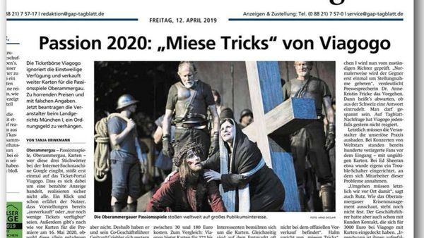 """Passionsspiele 2022: Ticketbörse Viagogo bietet erneut überteuerte Karten an - """"Einfach nur ärgerlich"""""""
