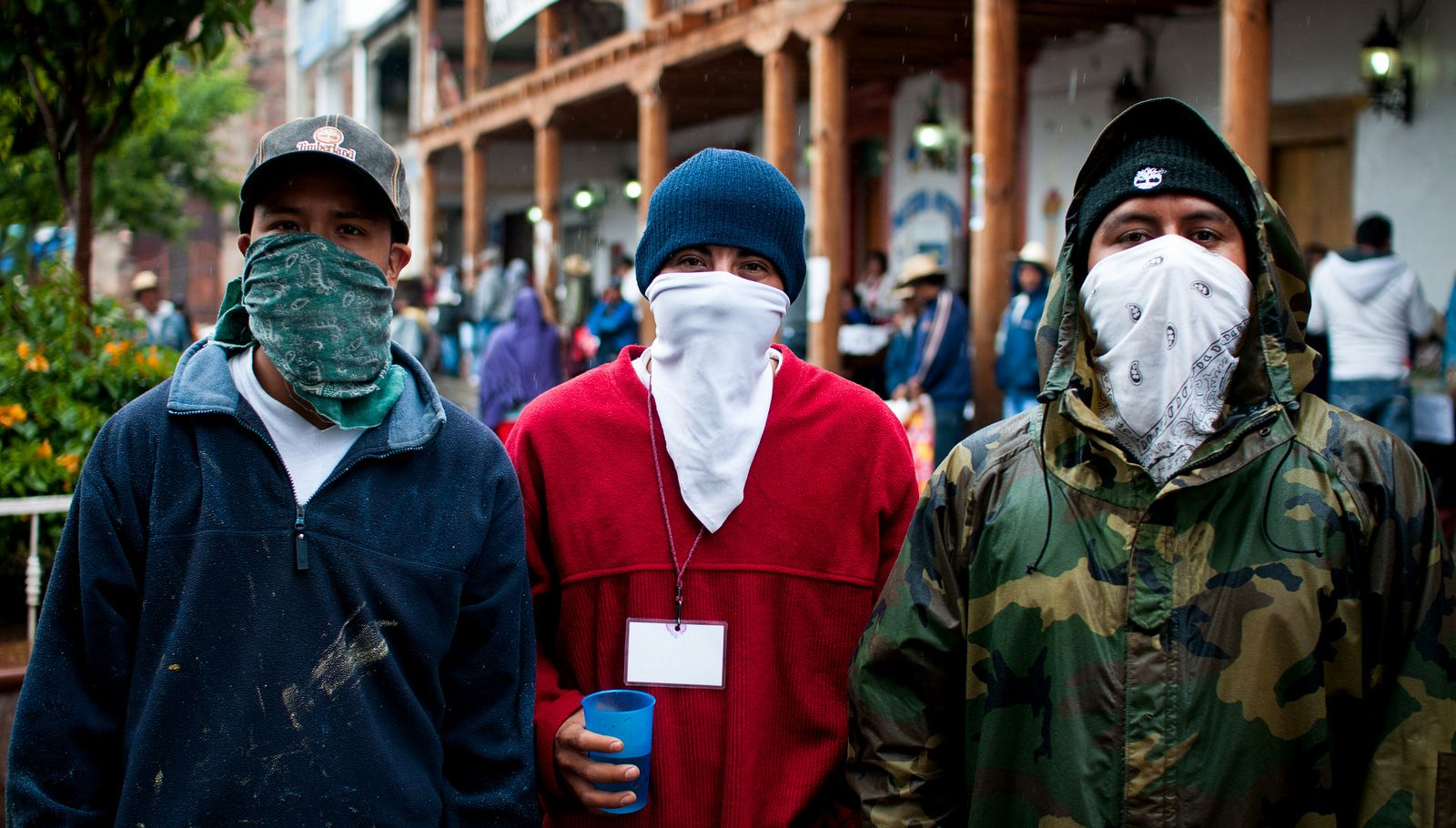 "Three young Cherán man watch the streets with their faces covered to avoid reprisals by the ""enemies"", loggers and organized crime. (Photo: Eneas De Troya/Flickr)"