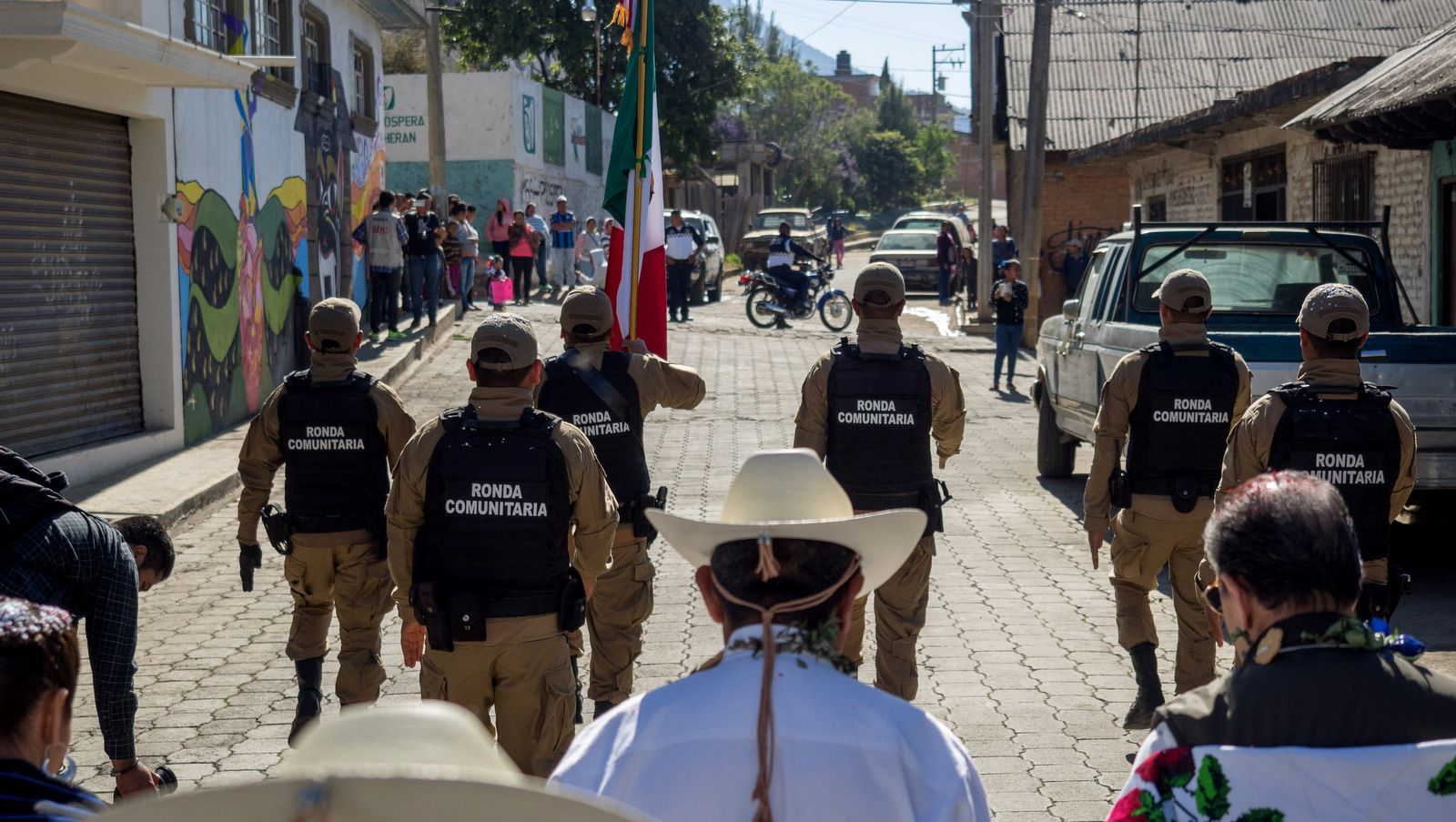 Cheran's local police group, known as the Ronda Comunitaria, which replaced the municipal police, lead a march through the town's four neighborhoods, April 15, 2018. (Photo: José Luis Granados Ceja)