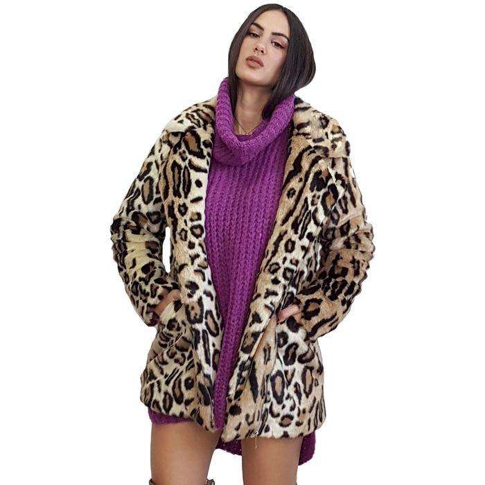 Γυναικεία λεοπάρ γούνα με τσέπες και εσωτερική φόδρα - OEM - FW17SOF-4758196