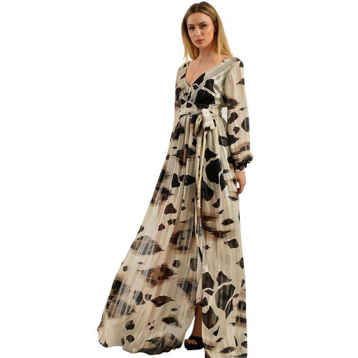 Μάξι αέρινο φόρεμα με ethnic print και ζώνη - LOVE ME - SP18LV-54800