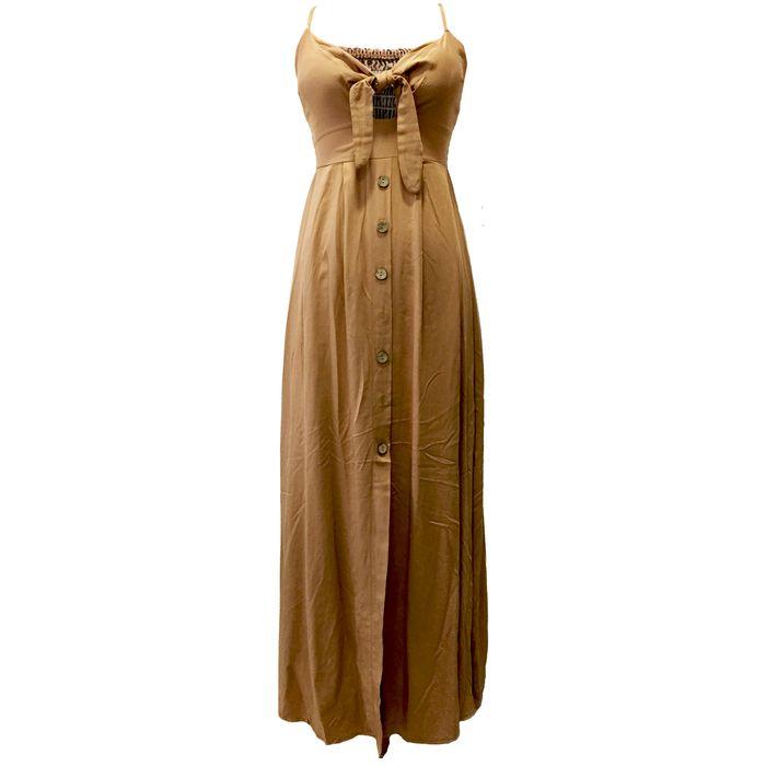 Maxi Φόρεμα με άνοιγμα στο Στέρνο και Κουμπιά - MissReina - SS18SY-50696