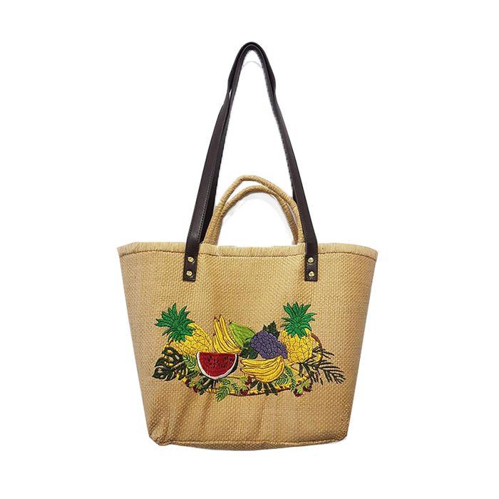 Ψάθινη Τσάντα με Φρουτάκια - MissReina - S18AC-62936