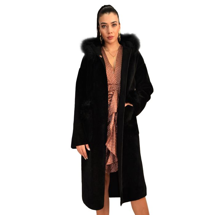 Doubleface Γούνινο Παλτό με κουκούλα και στέπες - MissReina - W20SOF-491257