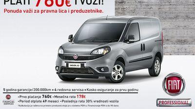 Specijalna lizing ponuda za Fiat Doblo Cargo – PLATI 760 eur i VOZI!
