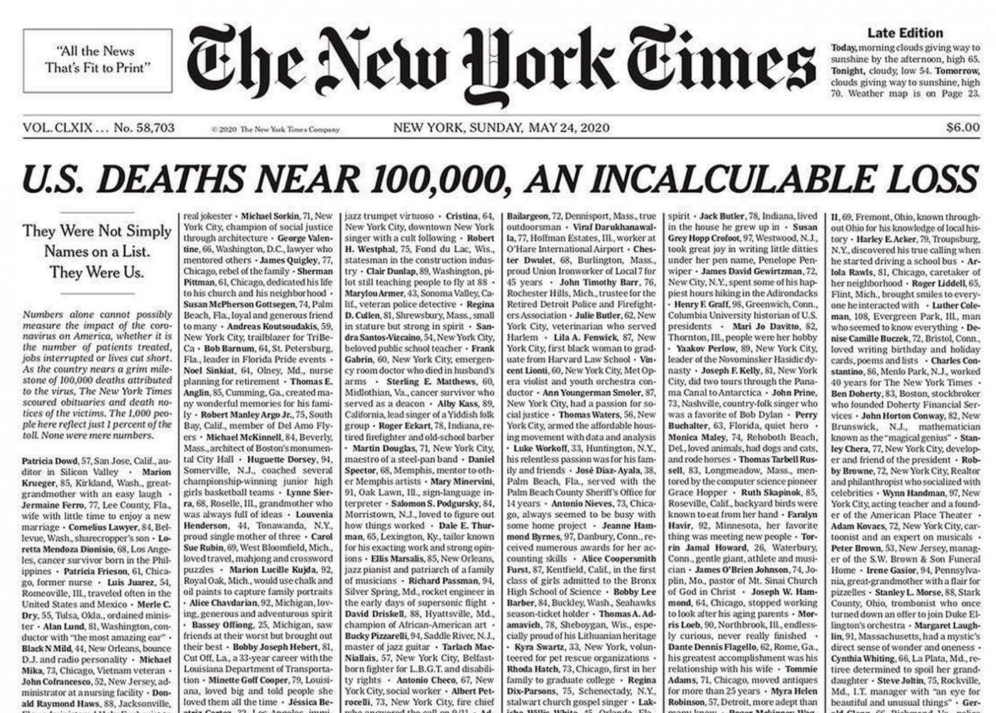 Coronavirus prima pagina del New York Times per vittime | Notizie