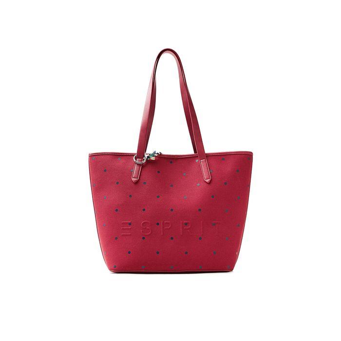 Γυναικεία υφασμάτινη τσάντα ώμου με διακριτικό πουά σχέδιο Esprit - 018EA1O015 - Κόκκινο