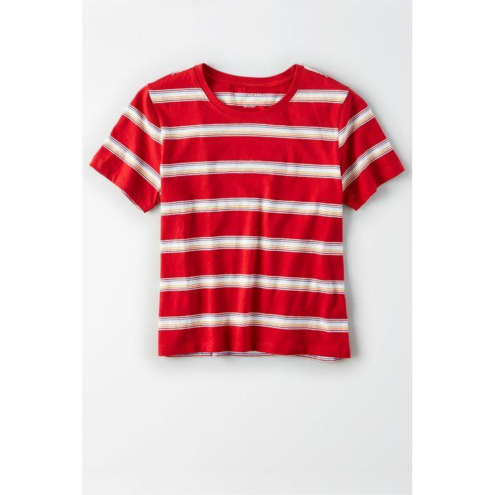 AE Striped Crew Neck Tee - 2372-6591-600 - Κόκκινο