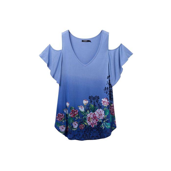 Desigual γυναικεία μπλούζα με ακάλυπτους ώμους Berth - 19SWTK87 - Μπλε Ηλεκτρίκ