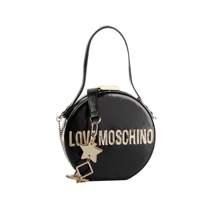 Love Moschino γυναικεία στρογγυλή τσάντα crossbody με αλυσίδα Peace Love and Stars - JC4038PP18LD0 - Μαύρο