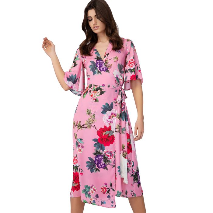 Billy Sabbado γυναικείο midi φόρεμα κρουαζέ floral - 0242980347 - Ροζ