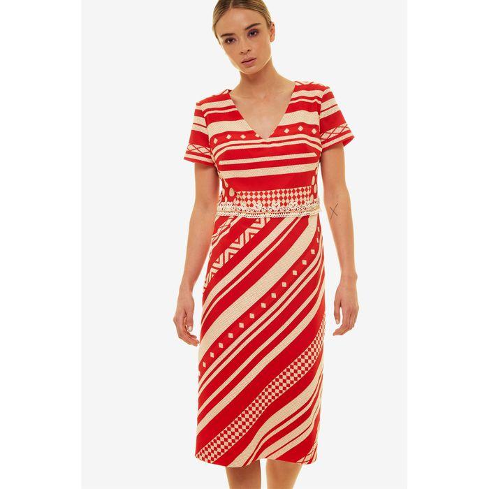 Jupe γυναικείο pencil φόρεμα με γεωμετρικά σχήματα και απλικέ δαντέλα - 21.191.J05.012 - Κόκκινο