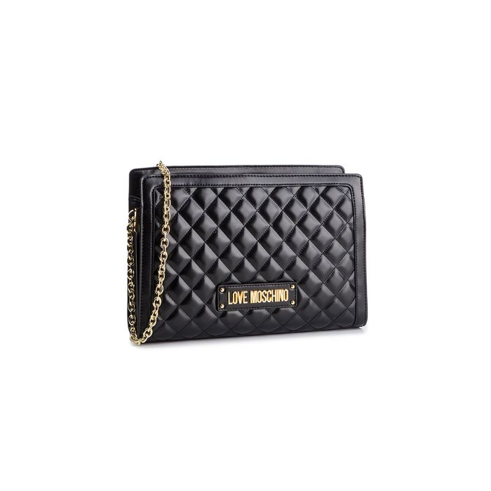 Love Moschino γυναικεία τσάντα crossbody καπιτονέ με λουράκι αλυσίδα - JC4203PP07KA0 - Μαύρο
