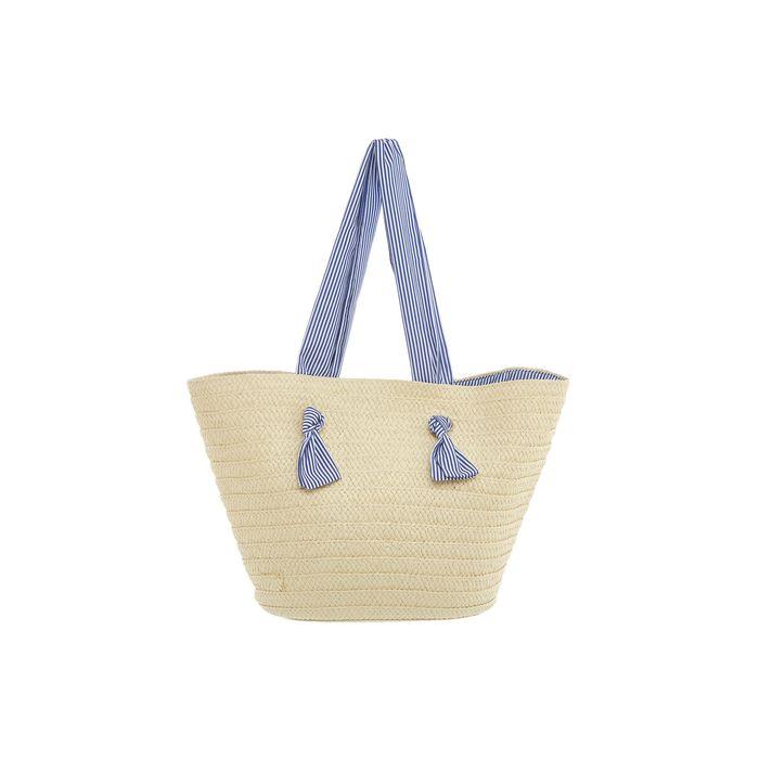 Coincasa γυναικεία τσάντα θαλάσσης ψάθινη με ριγέ λεπτομέρειες 30 χ 50 cm - 007093572 - Μπεζ