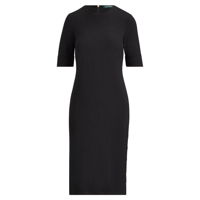 Lauren Ralph Lauren γυναικείο φόρεμα Button-Trim Ponte Dress Polo Black - 200709245003 - Μαύρο