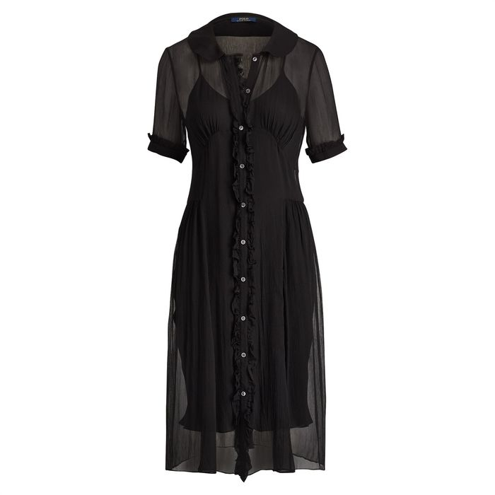 Polo Ralph Lauren γυναικείο φόρεμα Buttoned Crinkled Silk Dress - 211706547001 - Μαύρο