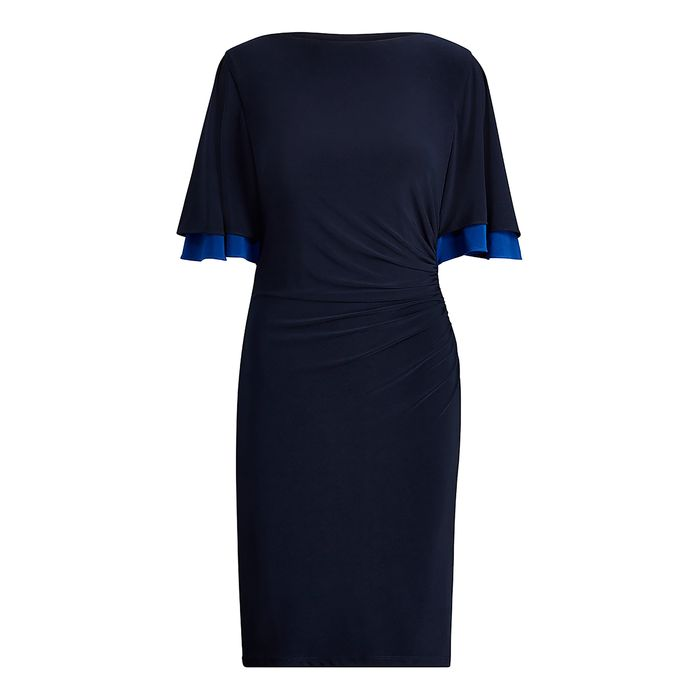 Lauren Ralph Lauren γυναικείo μίντι φόρεμα με φαρδιά μανίκια 3/4 - 250715849002 - Μπλε Σκούρο