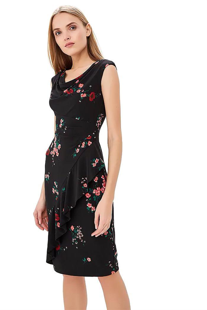 Lauren Ralph Lauren γυναικείo μίντι φόρεμα floral ντραπέ λαιμόκοψη - 250716856002 - Μαύρο