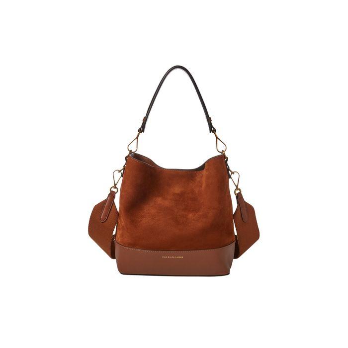 Polo Ralph Lauren γυναικεία τσάντα καφέ Small Suede Leather Hobo Bag - 428714748001 - Καφέ