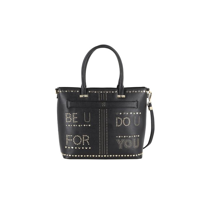 Trussardi Jeans γυναικεία τσάντα shopping με lettering από μεταλλικά στοιχεία - 75B00558-9Y099998 - Μαύρο