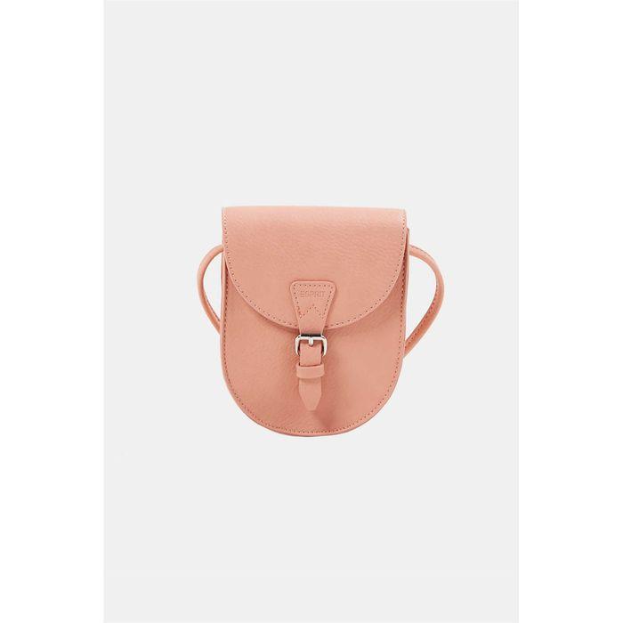 Esprit γυναικεία τσάντα crossbody με flap κλείσιμο και μεταλλική αγκράφα - 040EA1O328 - Ροδακινί