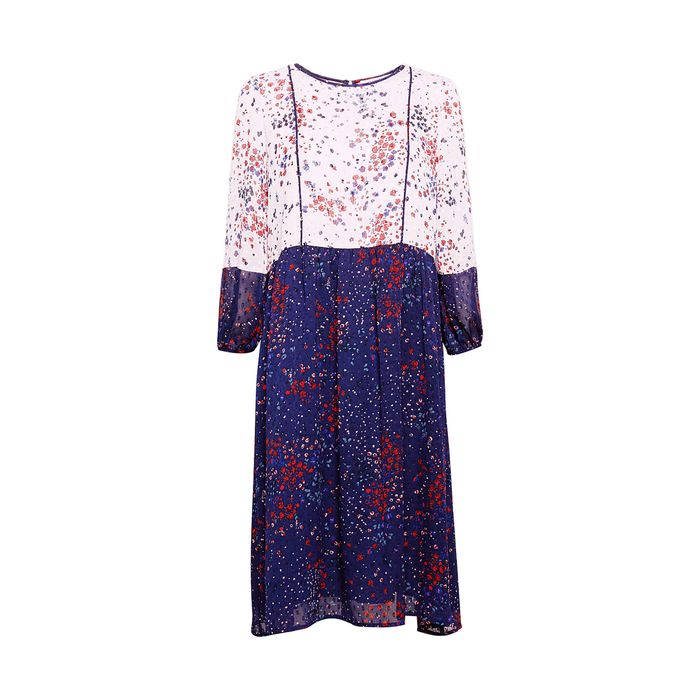 Esprit γυναικείο φόρεμα chiffon με φλοράλ print - 088EE1E019 - Μπλε Σκούρο