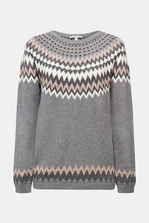 Esprit γυναικεία πλεκτή μπλούζα με διάτρητα κεντήματα - 110EE1I314 - Γκρι