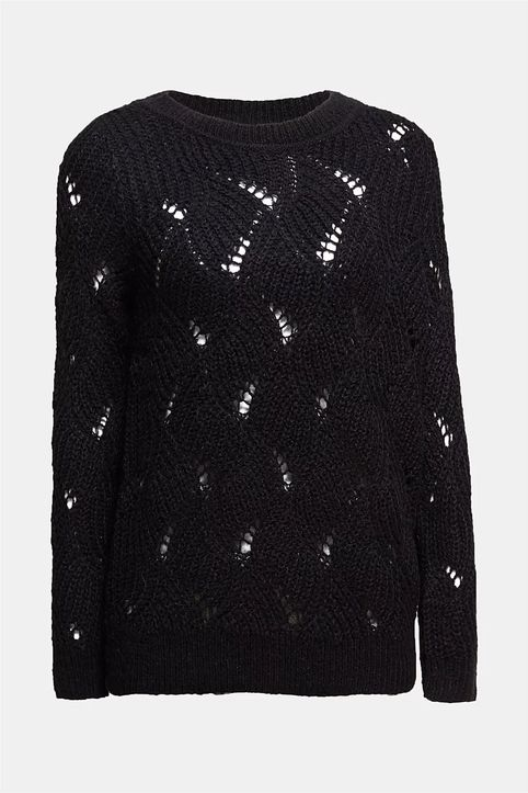 Esprit γυναικεία πλεκτή μπλούζα με διάτρητο σχέδιο - 110EE1I333 - Μαύρο