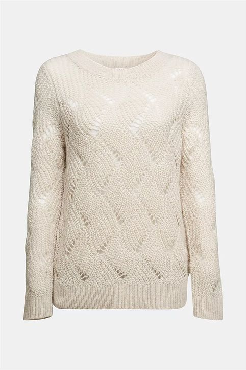 Esprit γυναικεία πλεκτή μπλούζα με διάτρητο σχέδιο - 110EE1I333 - Εκρού