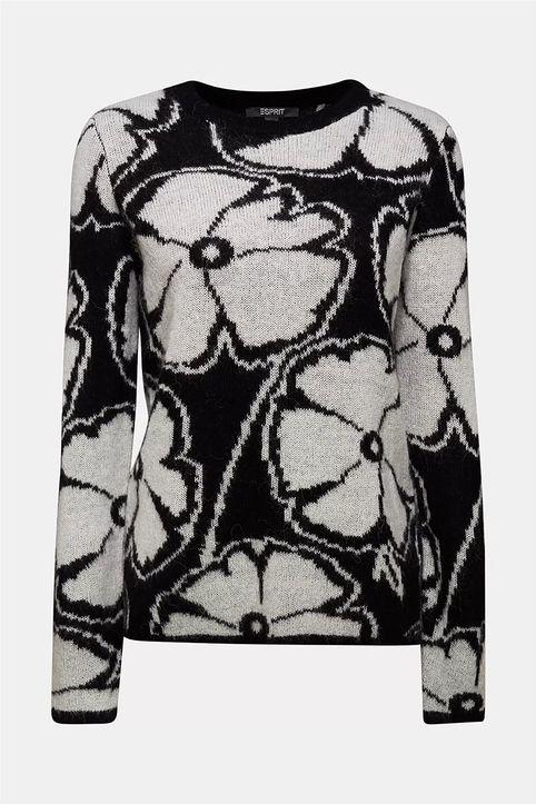 Esprit γυναικεία πλεκτή μπλούζα με all-over flower print - 110EO1I310 - Μαύρο