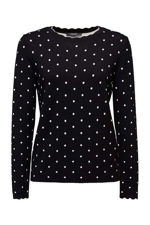 Esprit γυναικεία πλεκτή μπλούζα με πουά σχέδιο - 110EO1I329 - Μαύρο