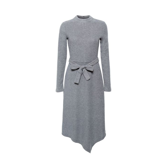 Esprit γυναικείo πλεκτό φόρεμα με ασύμμετρο κάτω μέρος - 118EO1E031 - Γκρι