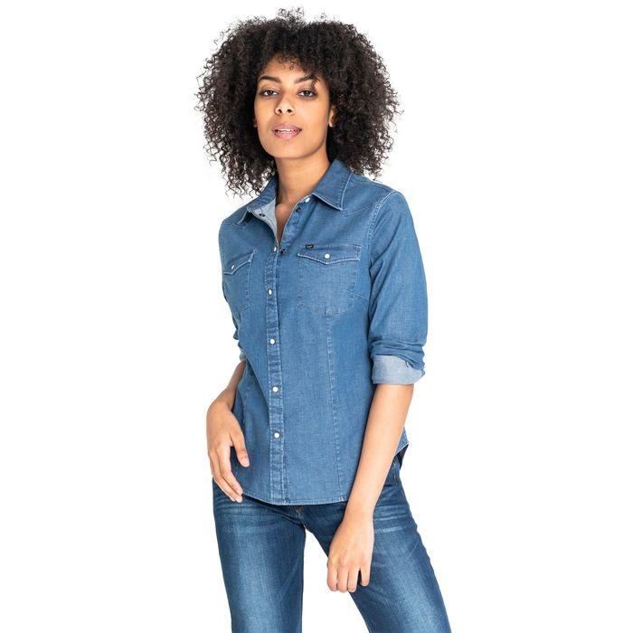 Lee γυναικείο denim πουκάμισο με δύο flap τσέπες
