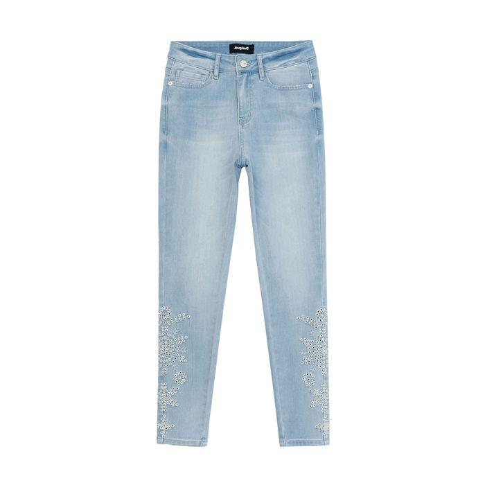 Desigual γυναικείο τζην παντελόνι cropped με floral κεντήματα Skinny Fit ''Crown'' - 21SWDD54 - Μπλε Ανοιχτό