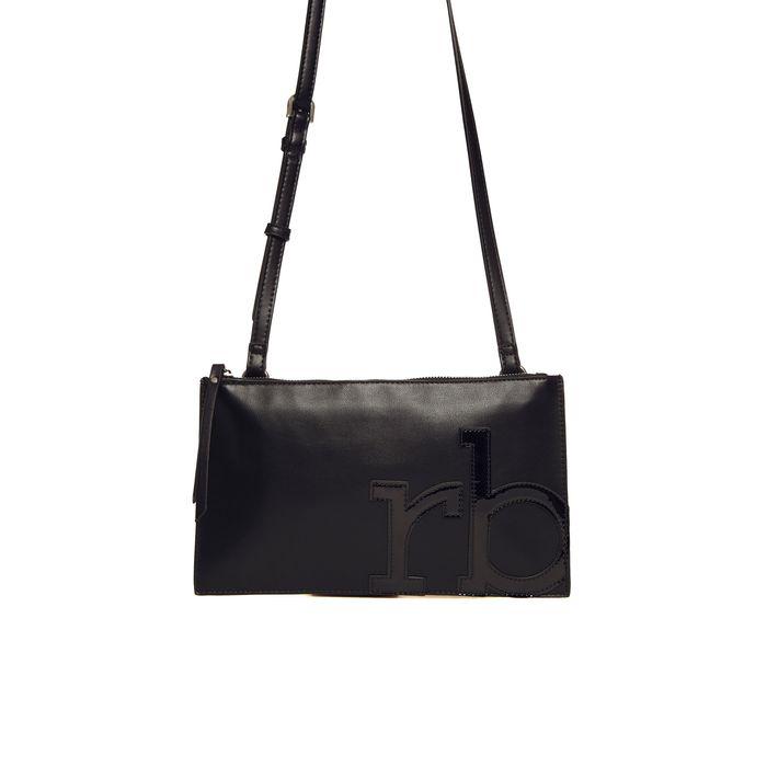 Roccobarocco γυναικεία τσάντα φάκελος με λογότυπο από λουστρίνι - 01GRBBS2S102N/G - Μαύρο
